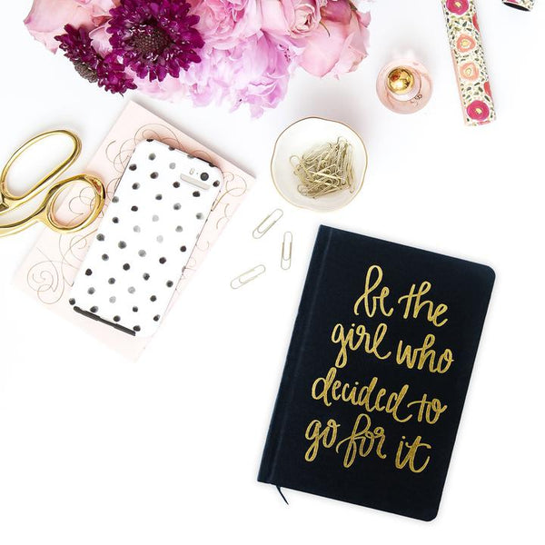 Be The Girl Who Decided To Go For It! Gold and Black Fabric Journal - Dear Reverie