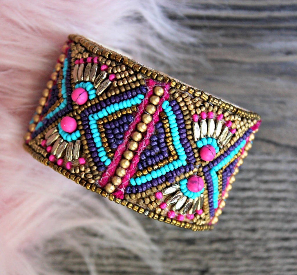 Adjustable Beaded Cuff - Dear Reverie