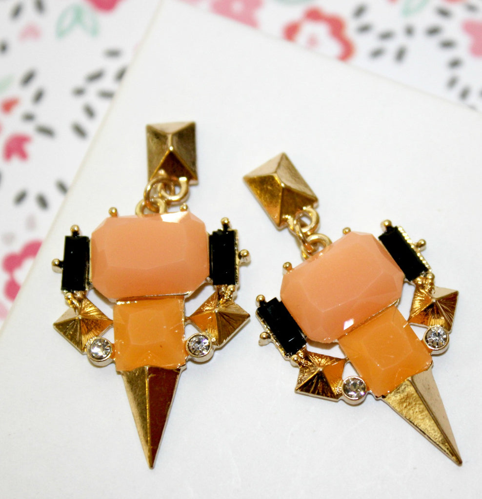Gorgeous Geometric Orange Earrings - Dear Reverie
