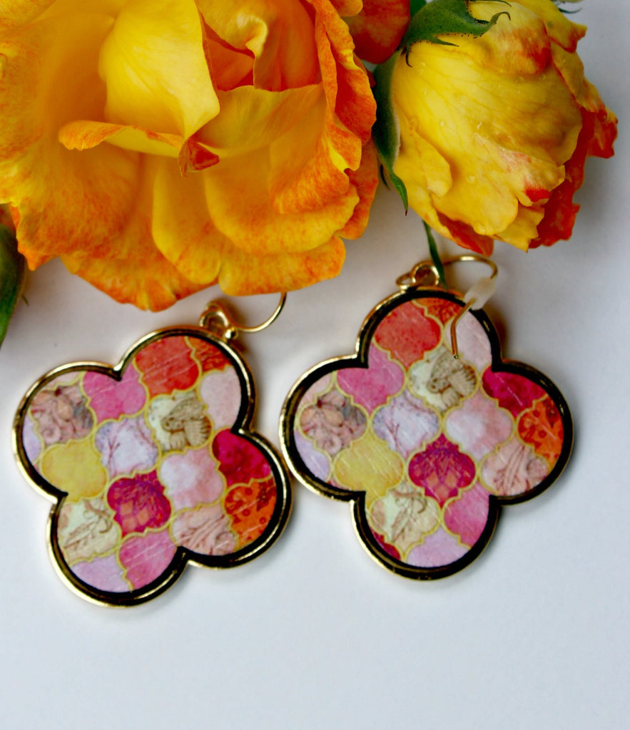 Tangerine and Honey Wood Earrings - Dear Reverie