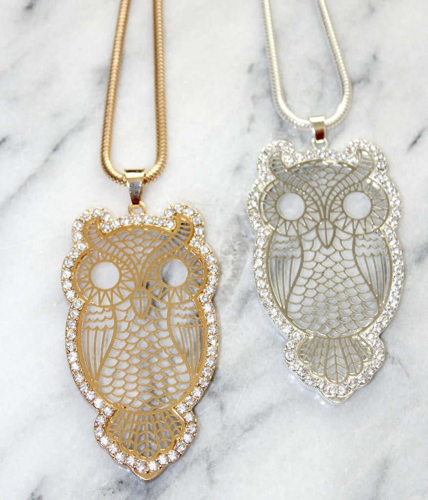 Crystal Outlined Owl Pendant (Silver or Gold) - Dear Reverie
