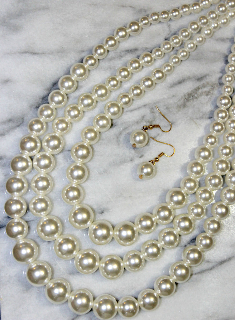 Three Strand Pearl Necklace Set - Dear Reverie