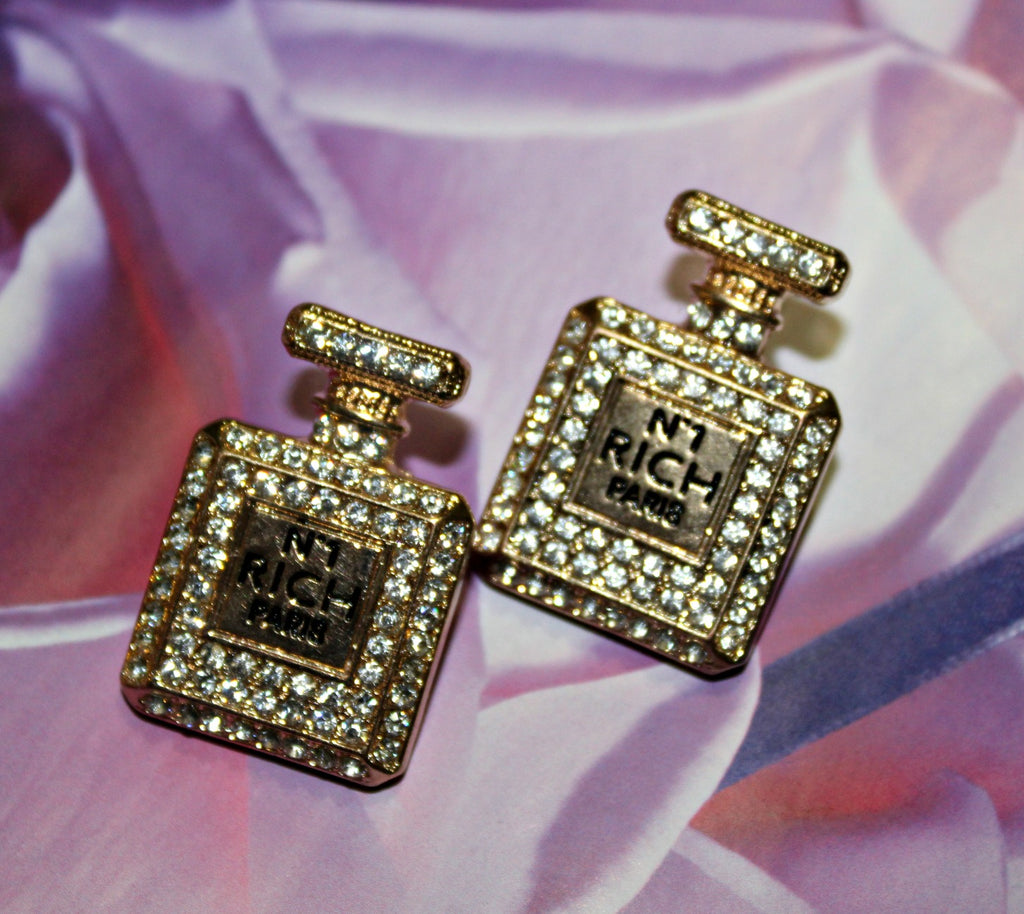 Gold Perfume Bottle Earrings - Dear Reverie