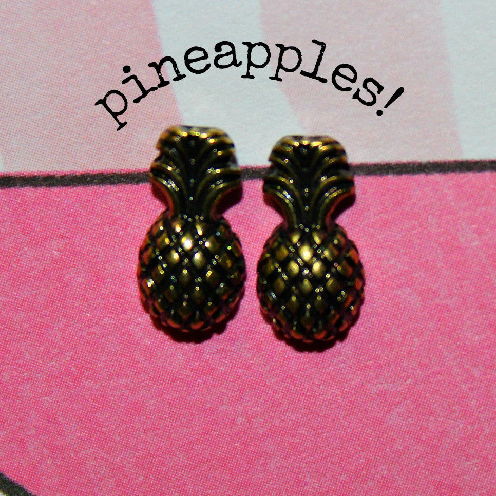 Mini Etched Pineapple Stud Earrings (Antique Gold or Silver) - Dear Reverie