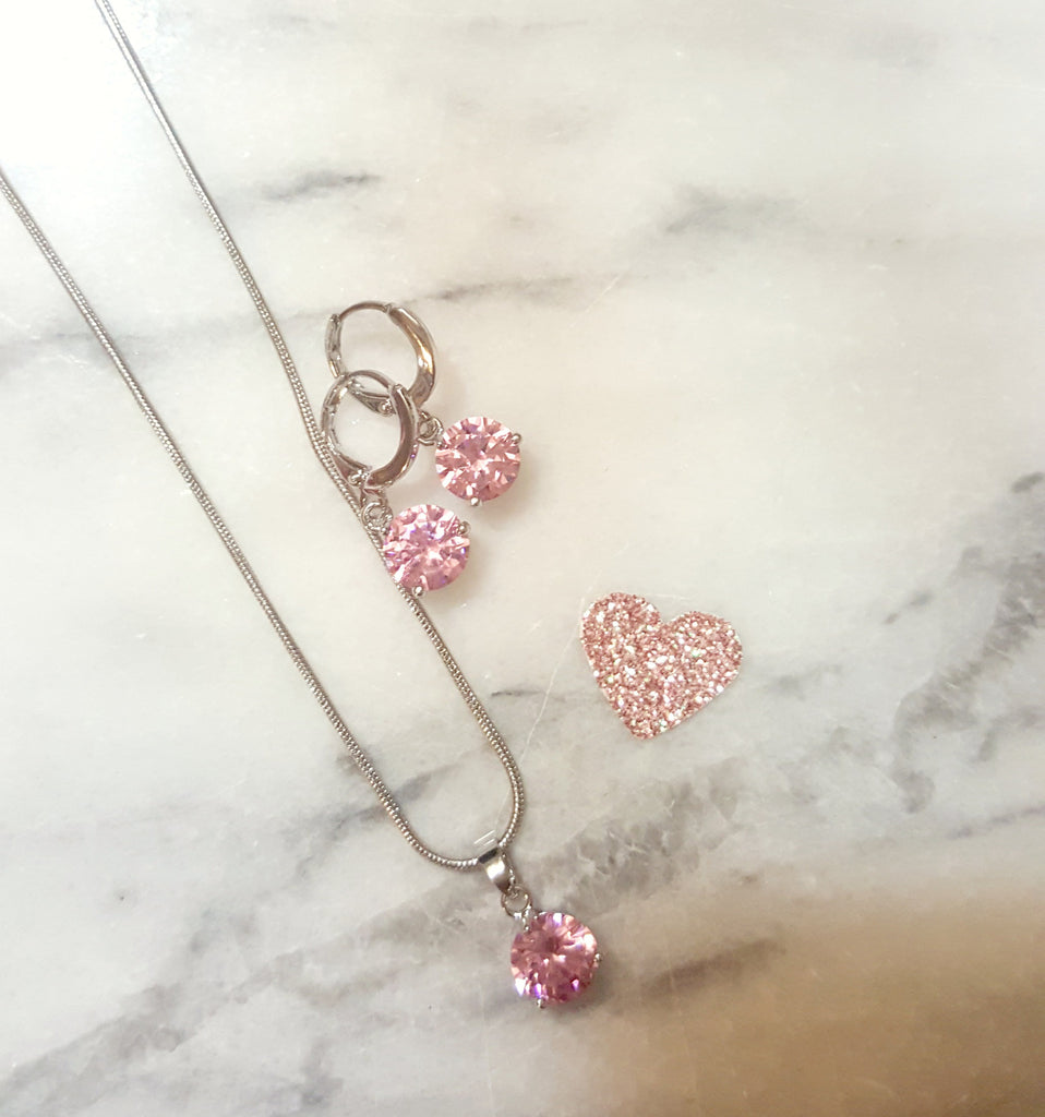 Single Diamond Necklace & Earring Set (Peach, Purple, or Pink) - Dear Reverie