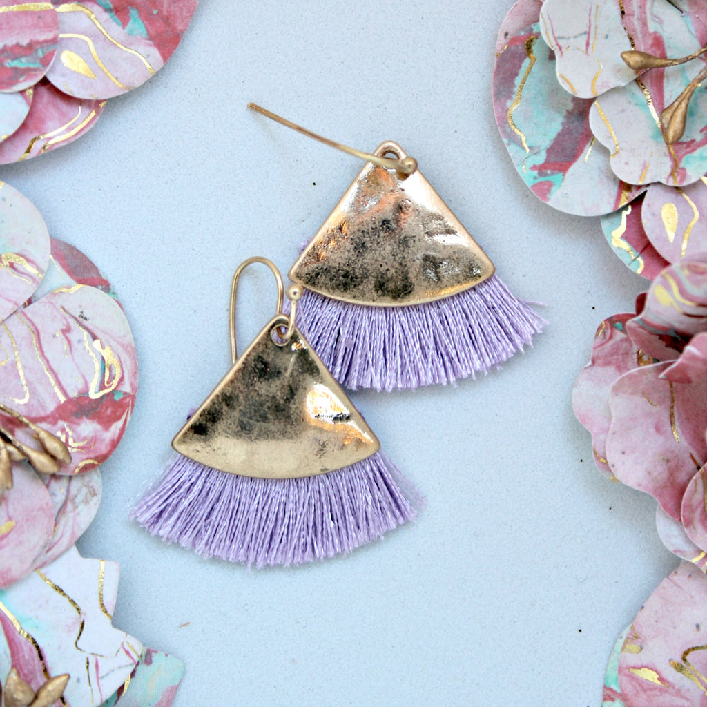 Lavender Triangle Fringe Earrings - Dear Reverie