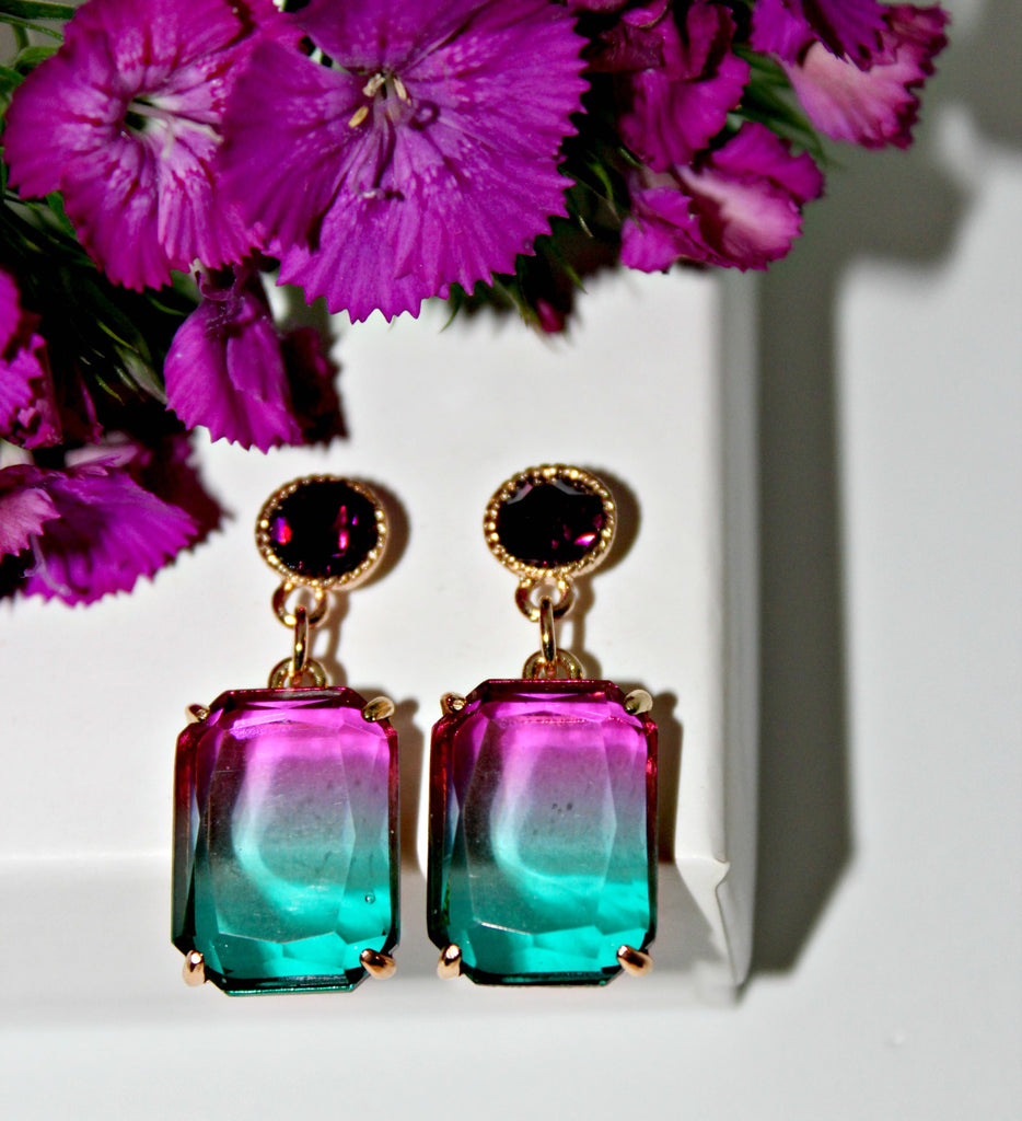 Topaz & Violet or Turquoise & Purple Ombre Earrings - Dear Reverie