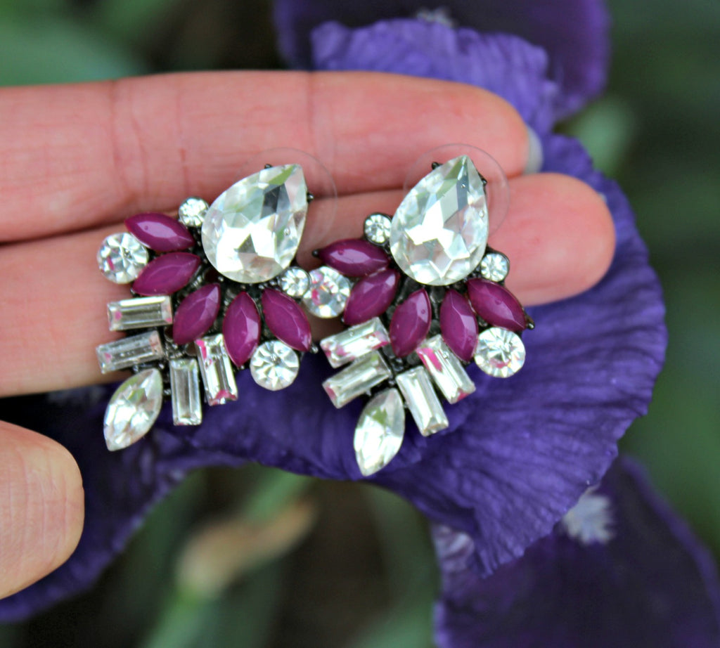 Purple Pop Hematite Earrings - Dear Reverie