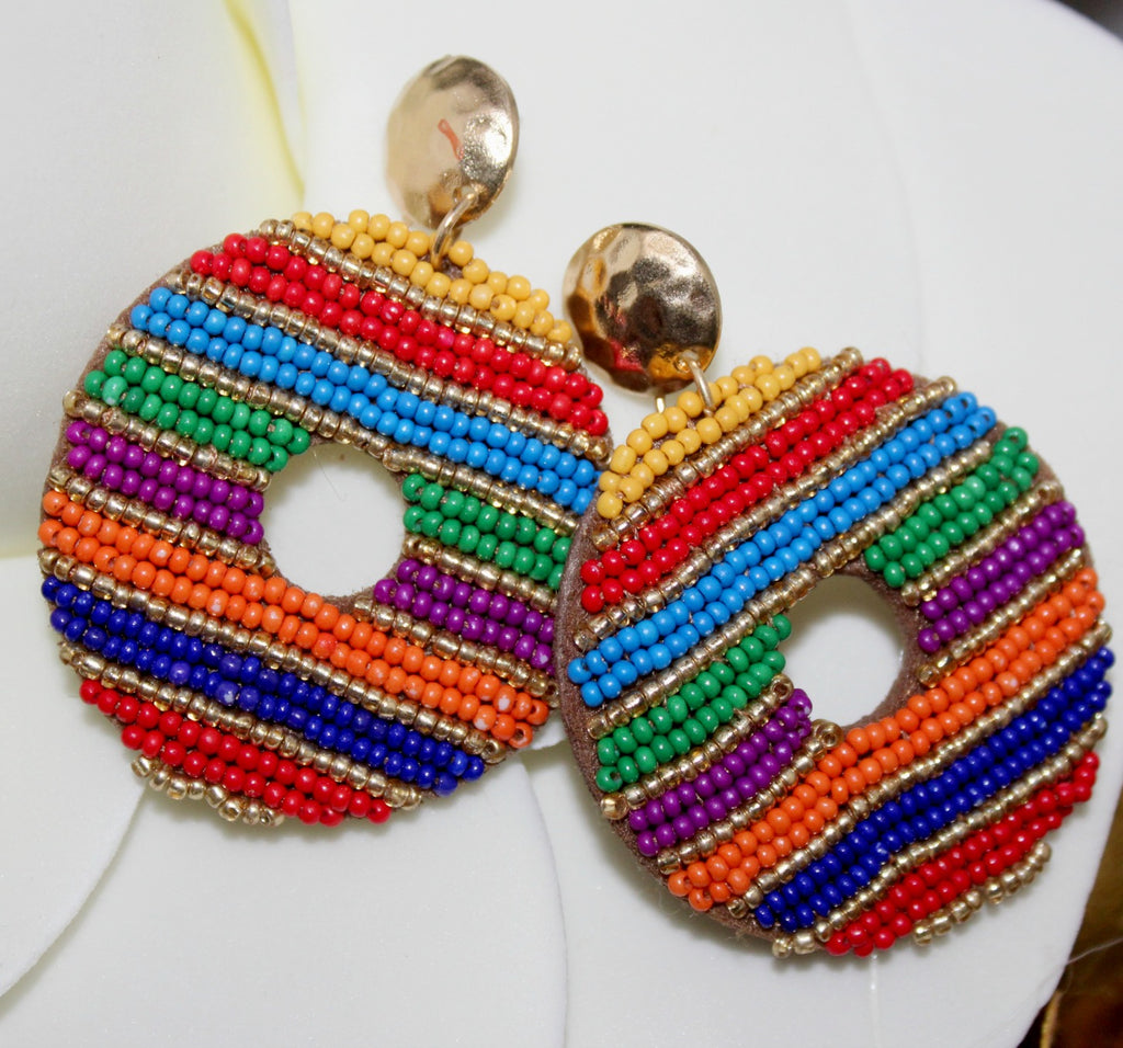 Rainbow Beaded Hoops - Dear Reverie