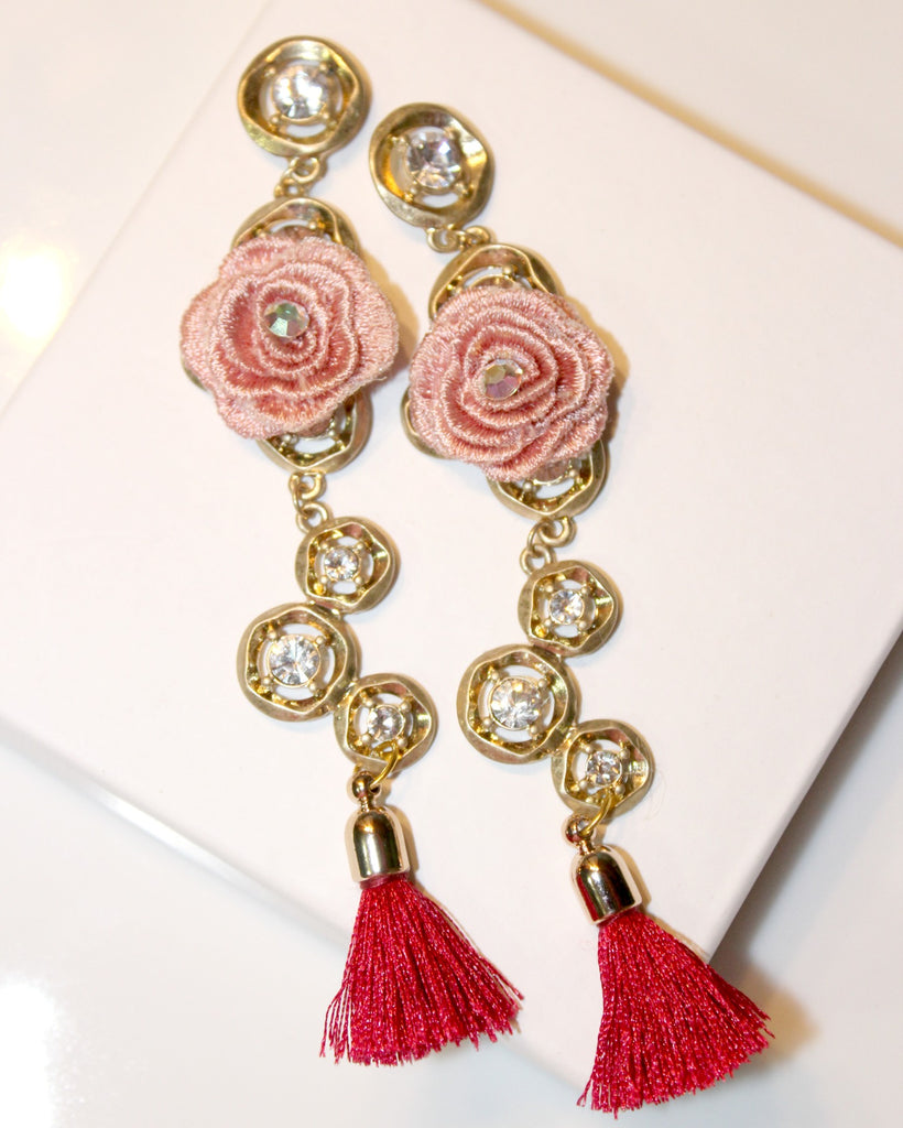 Rose Accent Tassel Earrings - Dear Reverie