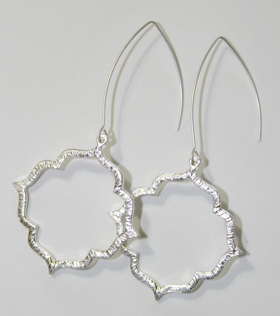 Silver Stencil Dangle Earrings - Dear Reverie