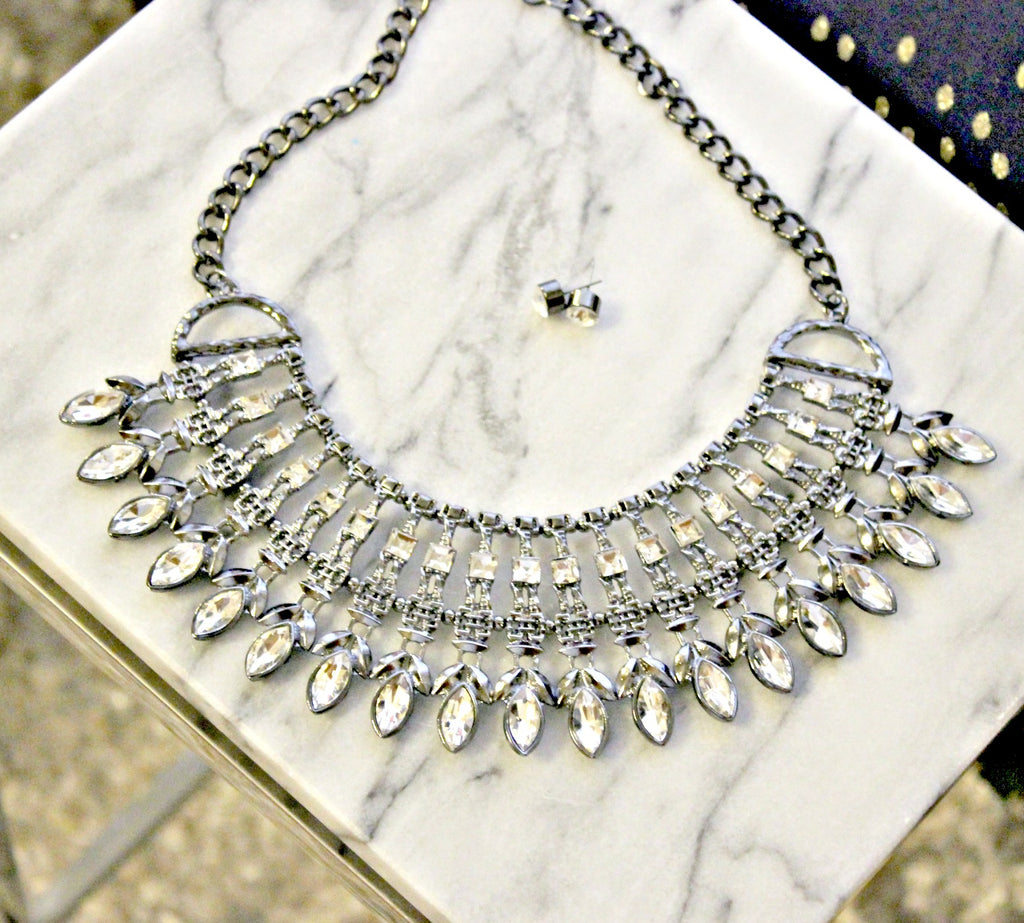 Gunmetal and Crystal Necklace - Dear Reverie