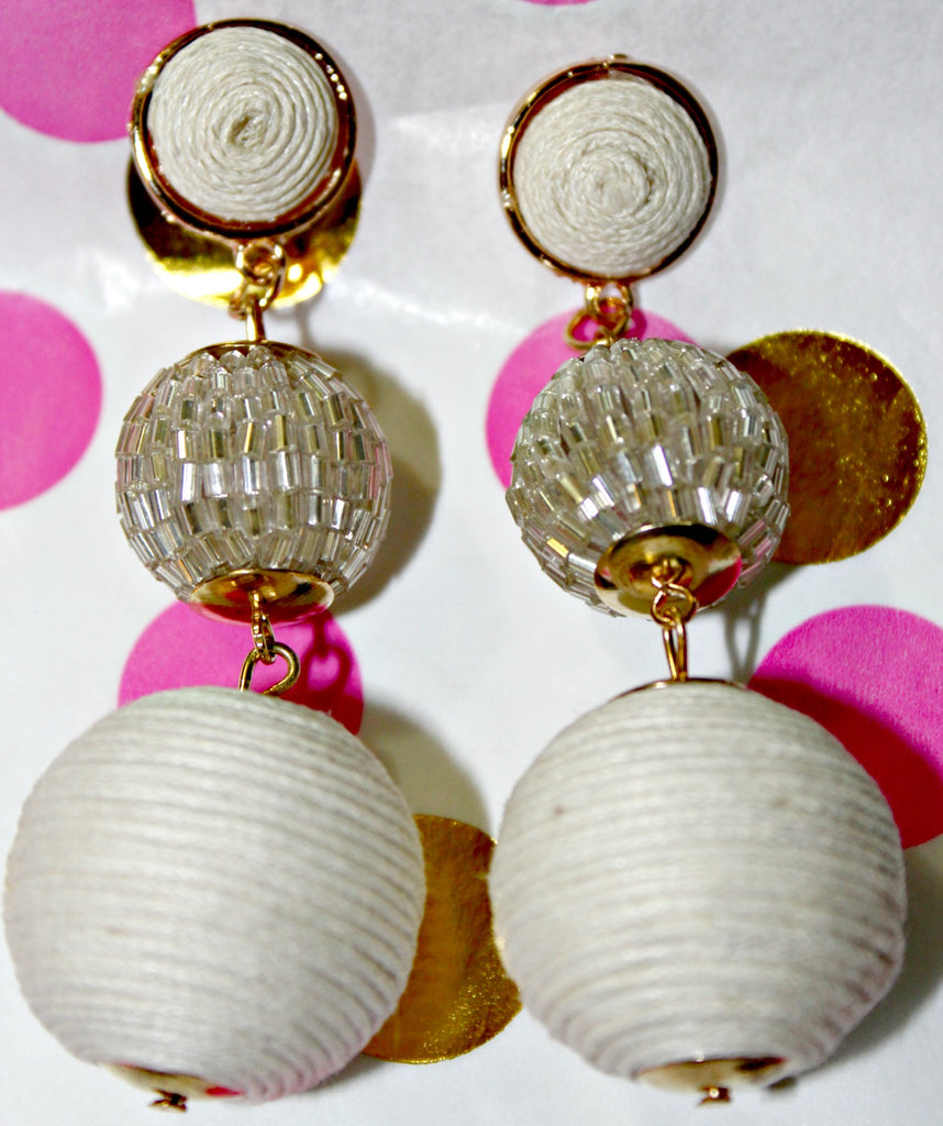 Mixed Media Ball Drop Earrings (Black or White) - Dear Reverie
