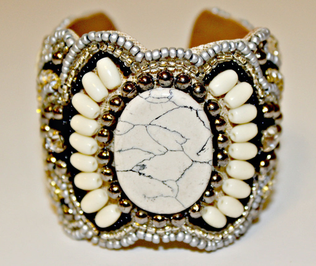 Beaded Cuff Bracelet (White, Brown) Pink - Sold Out - Dear Reverie