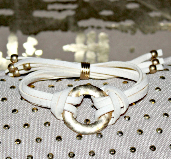 White Faux Suede Bracelet with Gold Accents - Dear Reverie