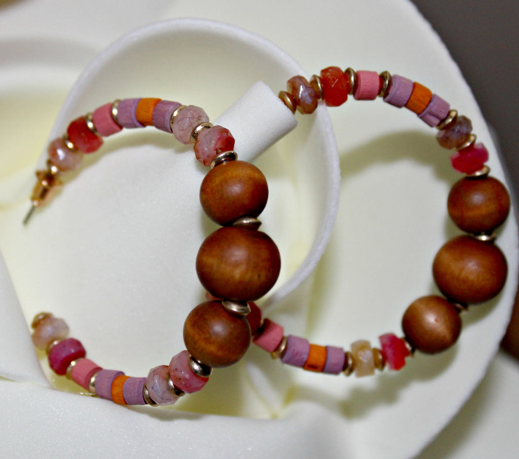 Wooden Bead Hoop Earrings - Dear Reverie