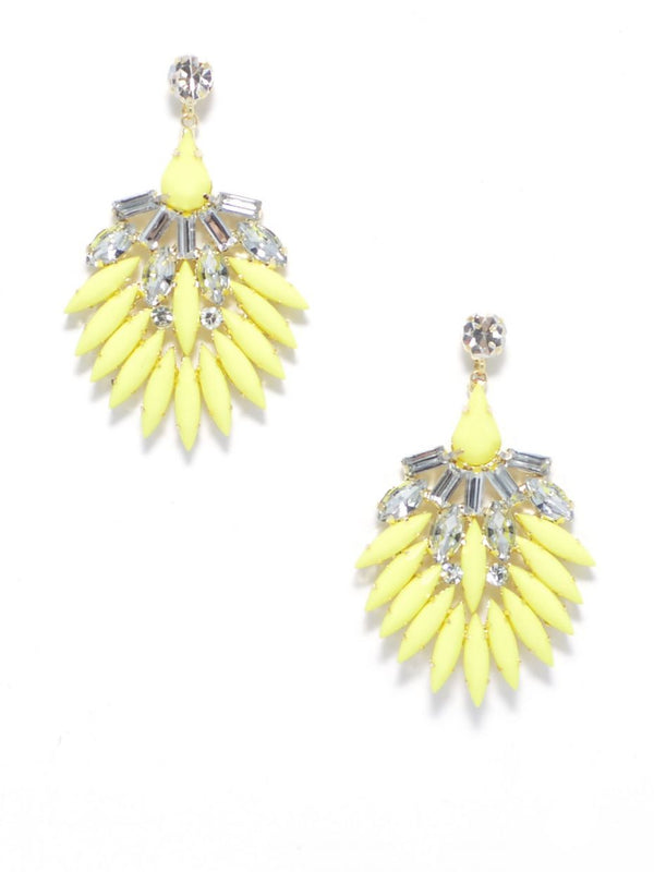Yellow Fan Gemstone Earring - Dear Reverie