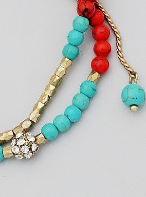 Faux Turquoise Beaded Bracelet with Crystal Accents - Dear Reverie
