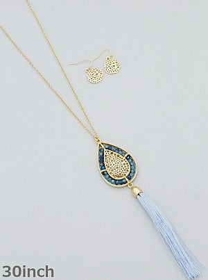 Beaded Teardrop Tassel Necklace with Earrings (Gold, Grey, or Blue) - Dear Reverie