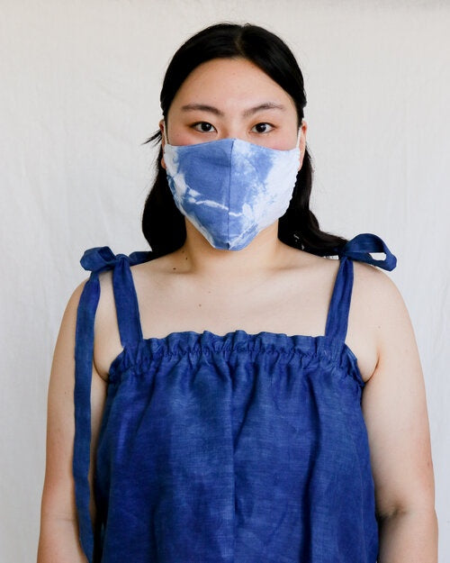 Indigo Tie Dye Plant Dyed Cotton Face Mask