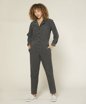 Lou Cord Jumpsuit - Faded Black