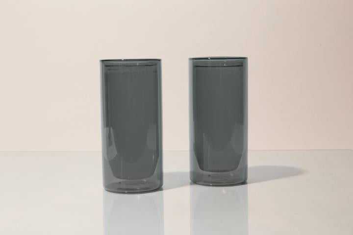 16oz Double-Wall Gray Glass Set