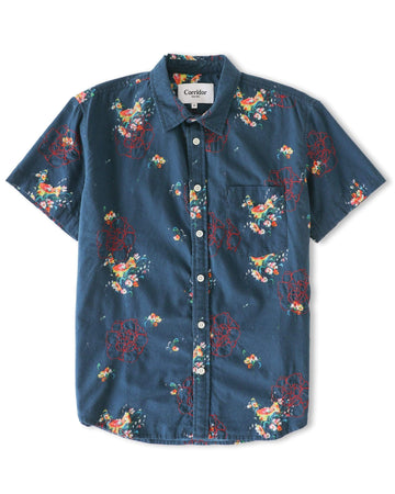 Embroidered Bouquet Hawaiian SS - Indigo