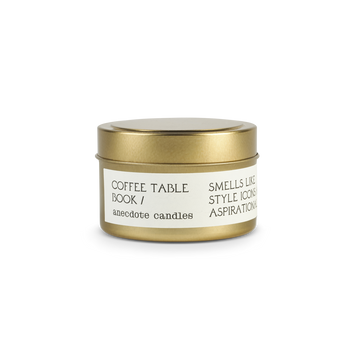 Coffee Table Book Travel Tin Candle