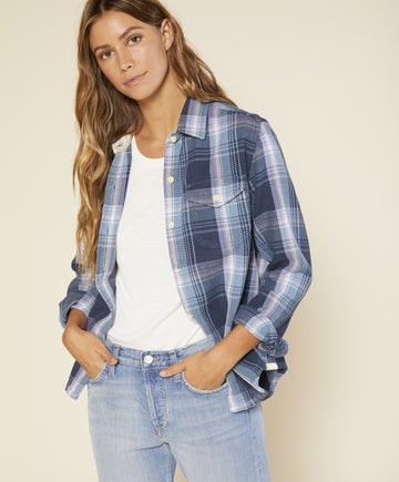 Women's Blanket Shirt- Dusty Blue Atlantic Plaid