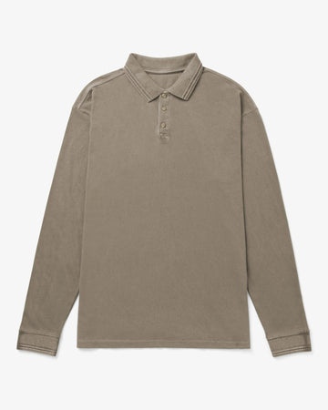 Relaxed LS Polo - Warm Grey