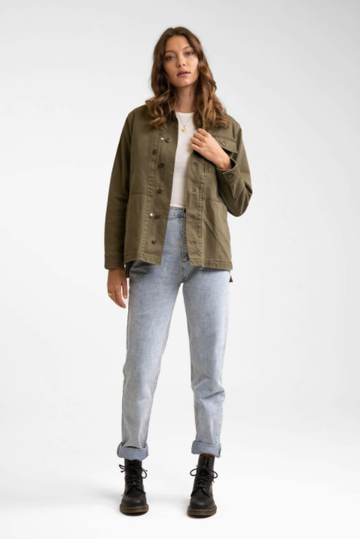 Denim Military Anorak - Khaki