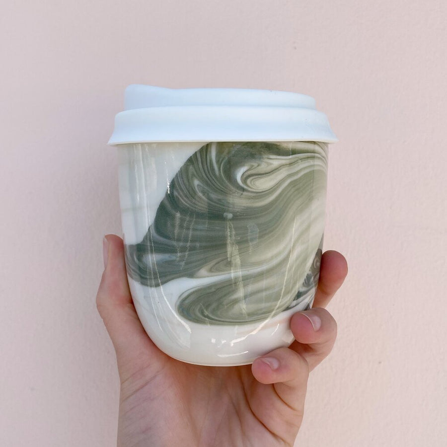 Marble Travel Mug - Forest Green
