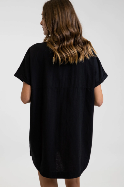 Classic Linen Shirt Dress - Black