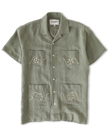 Linen Summer Shirt Floral Embroidered SS
