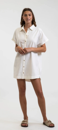 Classic Linen Shirt Dress - White