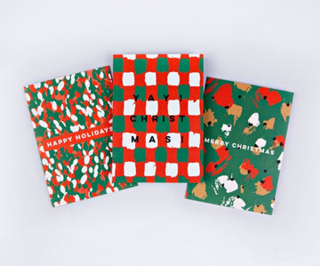 Brush Christmas Card Set - Set of 12