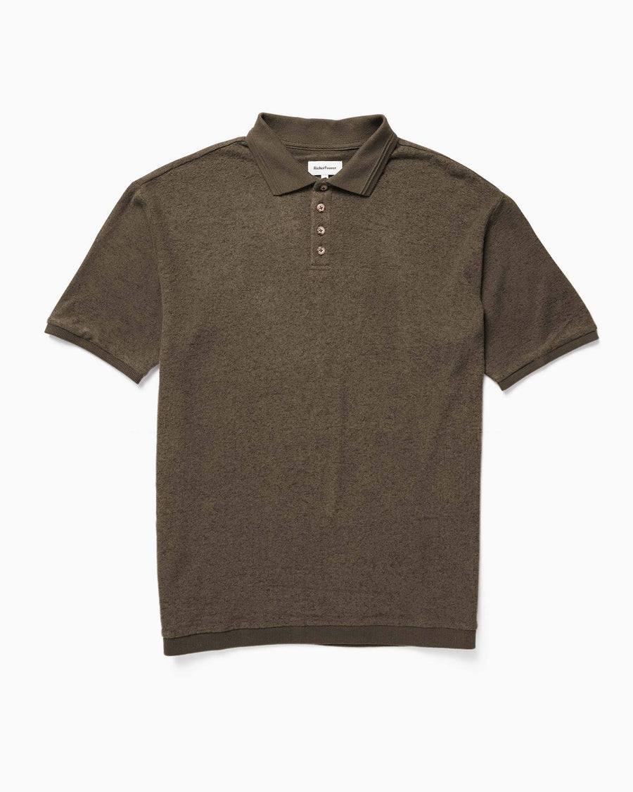 Cozy Knit SS Polo - Bitter Brown