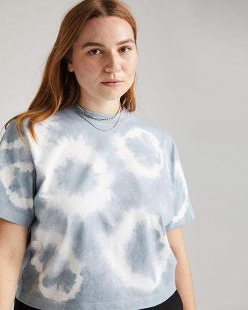 Relaxed SS Crop Tee - Blue Mirage Tie Dye