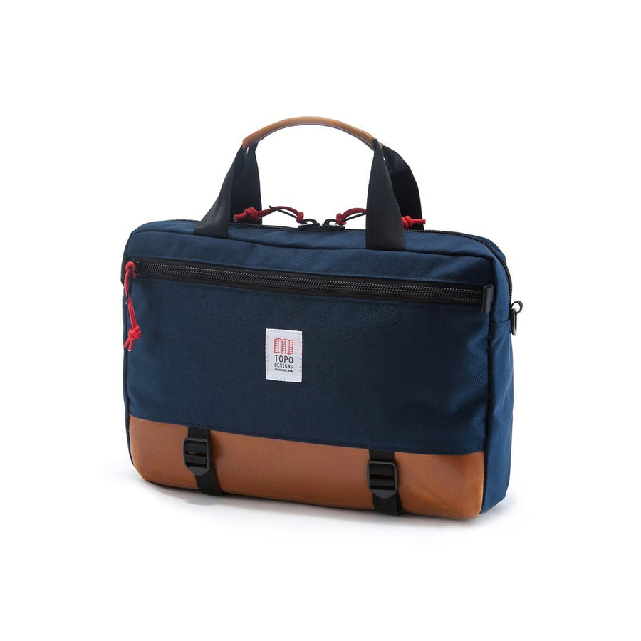 Commuter Briefcase - Navy/Brown Leather-TOPO Designs-MONIKER GENERAL