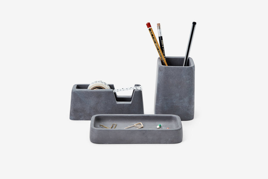 Concrete Desk Set in Charcoal-Areaware-MONIKER GENERAL