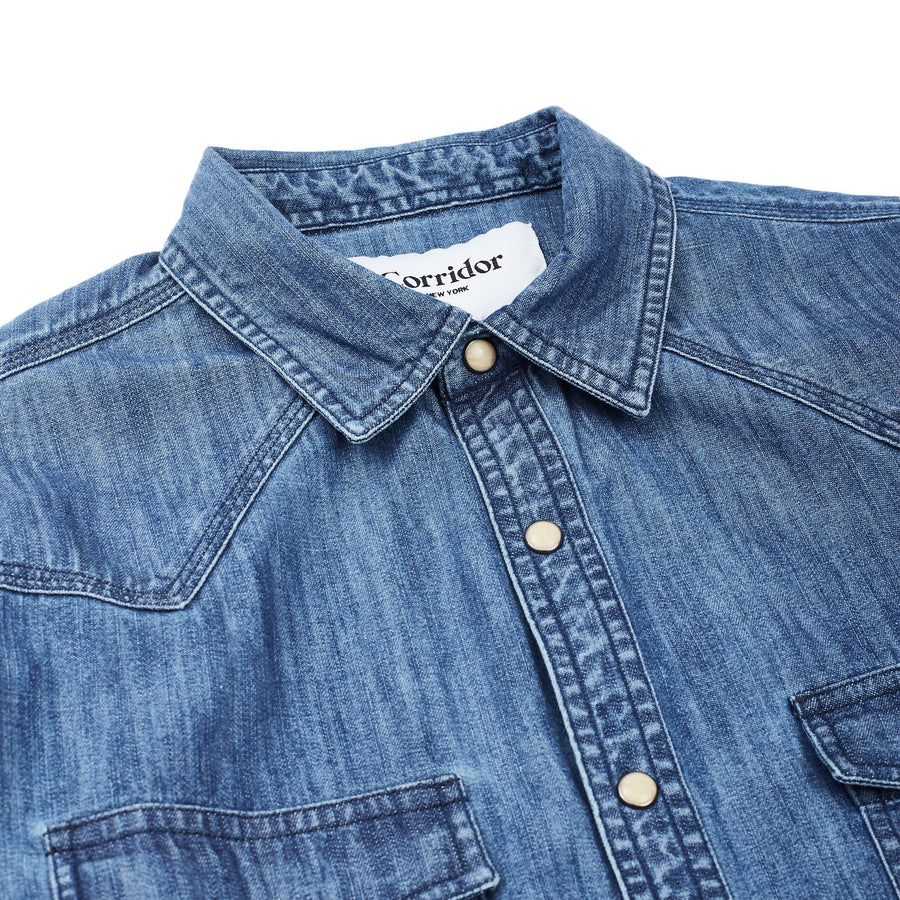 Denim Washed Western Shirt - Triple Stitch-Corridor-MONIKER GENERAL