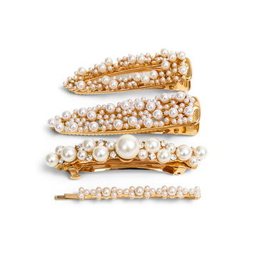 4 Pack Pearl and Golden Hair Clips