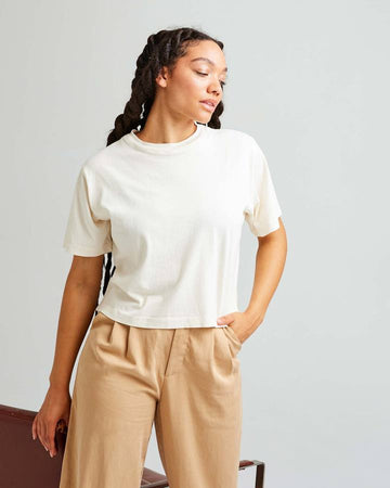 Relaxed SS Crop Tee - Bone