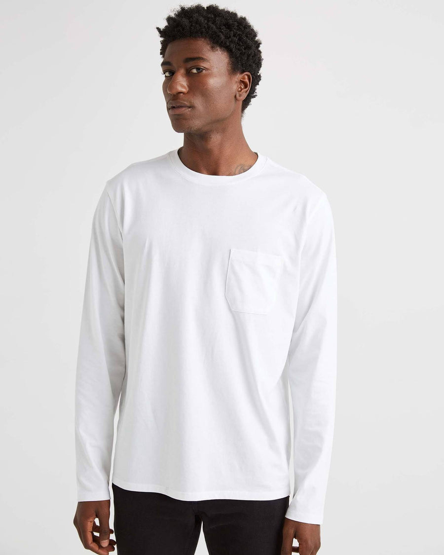 Mens LS Pima Pocket Tee - White-Richer Poorer-MONIKER GENERAL