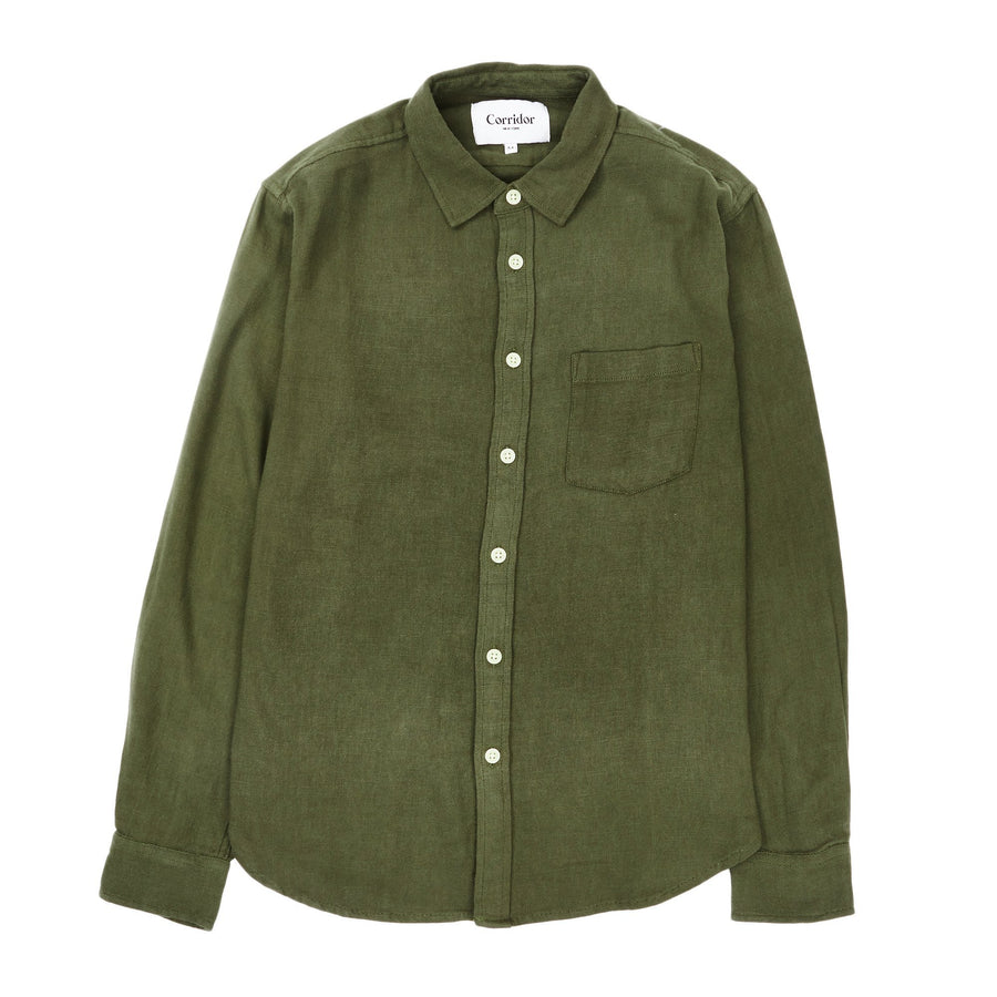 Olive Slub Twill Shirt-Corridor-MONIKER GENERAL