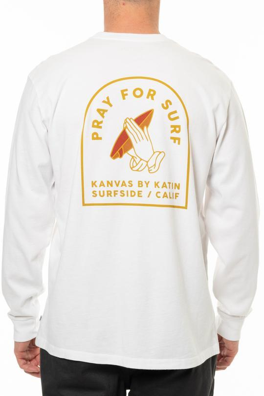 Pray For Surf L/S Tee in White-Katin USA-MONIKER GENERAL