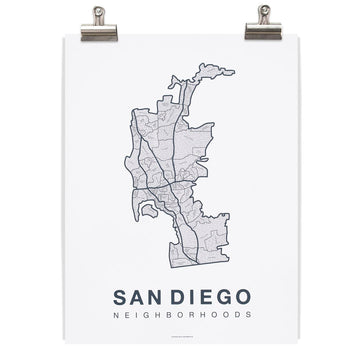 San Diego Map - Grey Blue/ White-Native Maps-MONIKER GENERAL