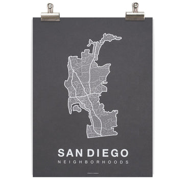 San Diego Map - White/Grey-Native Maps-MONIKER GENERAL