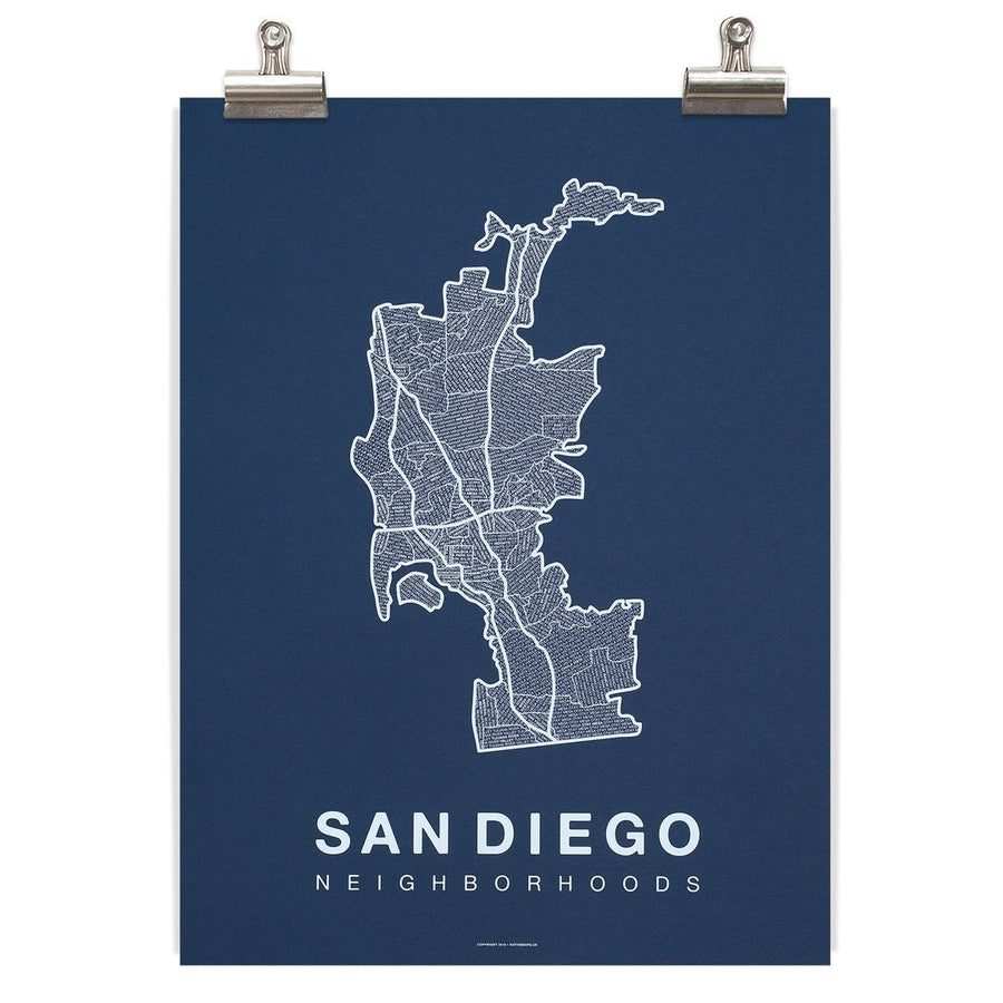 San Diego Map - White/Navy-Native Maps-MONIKER GENERAL