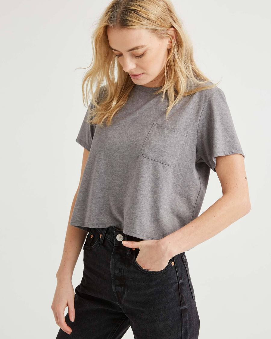 Women's Pima Boxy Crop - Heather Grey-Richer Poorer-MONIKER GENERAL